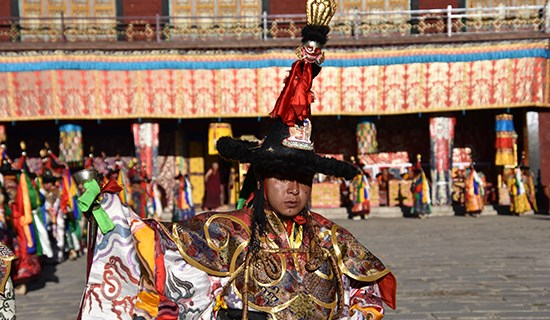 Mask Dance (Cham) Festival during Summer Prayer at Tsurpu Monastery